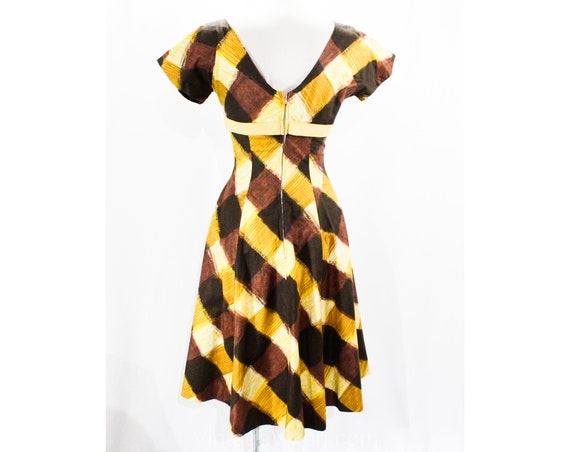 Dress Full Size Plaid Brown 1950s Skirt 26 Short 8 Picnic Cotton amp; Dress 50652 50s Yellow 5 Sun Chic Sleeve Summer Waist gxwfvPgrq