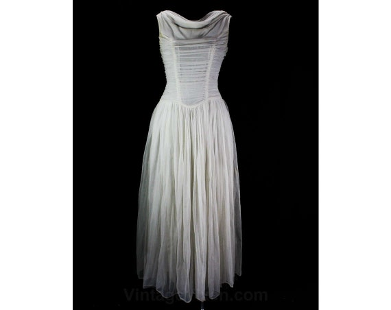 Bust Cowl Debutante Nylon Evening Hourglass Party Dress Drape 34 Dress White 50s 45694 Size Pin Gown 1950s 6 Shirring amp; Up qUxWwg