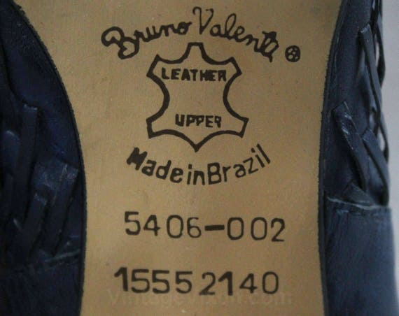 Bruno Leather Navy 10 Chic Street 48023 Pumps Unworn Made Huarache Valenti NOS Woven in 1980s Shoes Size Style Weaving Brazil dwaxIBqEI