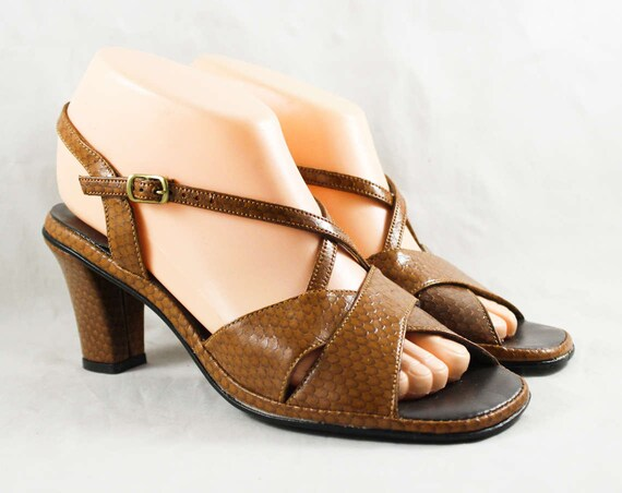 70s 47723 Deadstock 1 8N Inspired Deco Snakeskin Heels Slingback Brown 1970s Size 8 Puppies Toe Shoes Style Sandal Tan Hush Peep UHR6RqFw
