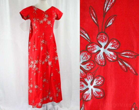 Lei Flowers 39 Dress Silver Hawaiian Lounge 44120 Red Elsie 60s Bust Vivid Cotton Waikiki Krassas 10 Metallic Size Hawaii vTzqwpxz