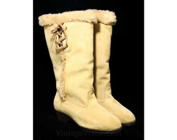 Tan Suede Deadstock Faux Light Shearling Width Fall Boots Size Extra Lining Up 7 Beige 43686 6 W Taupe Lace Wide Sides 1960s xYFwF8qt6