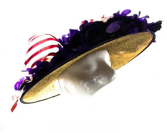 1940s Straw Picture Hat with Violet Flowers & Pin… - image 2