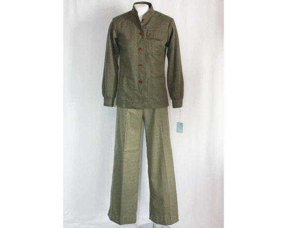 Chic by Size Nehru Mint Army 1960s 36105 Youth Suit Sage Pant 60s 6 Green Militarist Deadstock Guild Bust Condition Collar 34 z5Cqw54