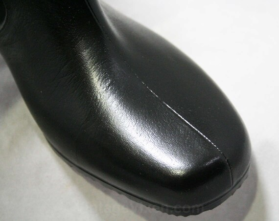Lined Fleece Size Boot 50s Deadstock 44498 Wide Waterproof WW Winter Vinyl 50s 6 2 Victorian Width Black Boots Authentic Inspired gq7wP4
