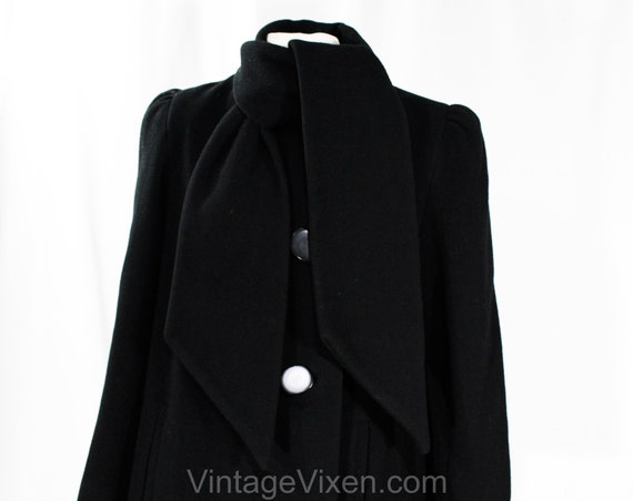 Size 10 Black Winter Coat - Designer 80s Overcoat… - image 2