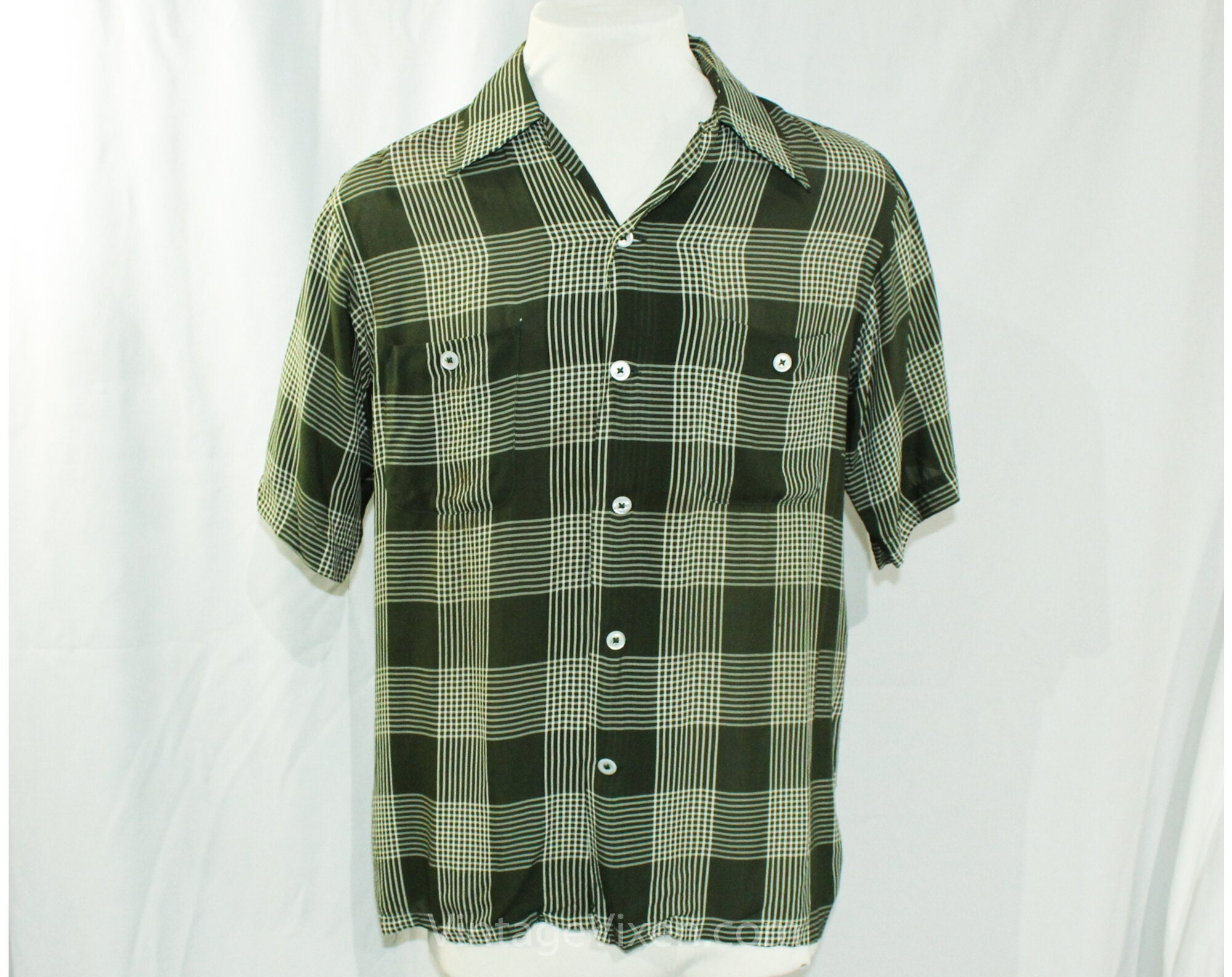 1940s Men's Shirts, Sweaters, Vests Large 1940S Mens Rayon Shirt - Spinach Green  White Plaid Sheer Summer Casual With Shell Buttons Mens 40S Rarity As Is Chest 46 $29.99 AT vintagedancer.com