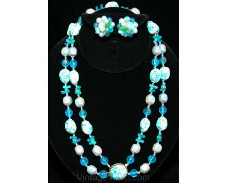 Double Strand Spring Green and Blue Hong Kong FINAL SALE Resort Chic 1960s Turquoise Speckled Necklace /& Earrings Secretary Chic