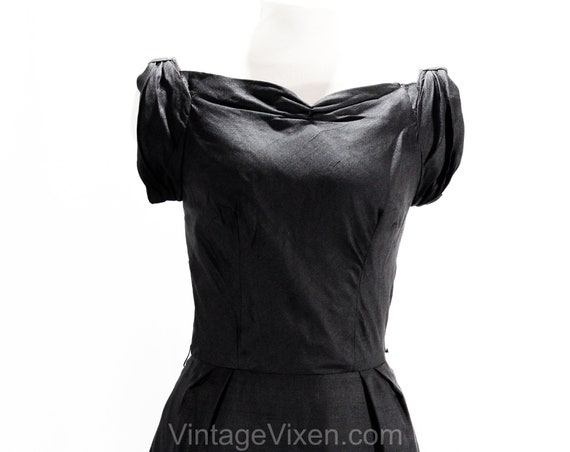 Pin Cinched Dress XS Cocktail Up Bows Girl Bust Sexy 1950s Bust 50670 Sculpted Silk Size Black Bombshell Motif 33 2 Sleeveless wwFqav