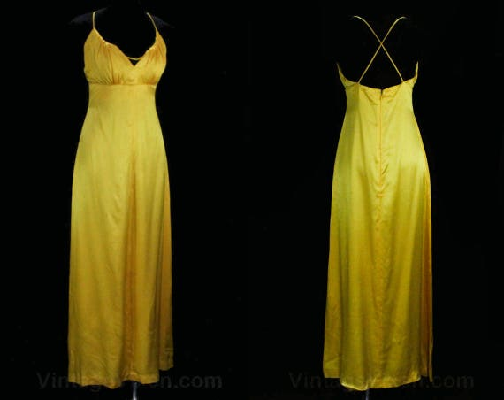Goddess Yellow Evening Strappy 1970s Gown Inspired Label Summer 49427 70s 36 Satin Hector Size Chic Formal 8 NY Dress Bust 5YPWtq
