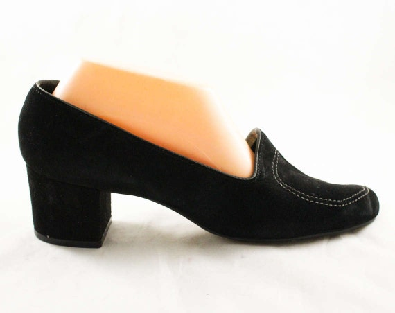 Sophisticated Size Pumps 10 47654 NOS Hush Suede Nice Deadstock 2 Quality 60s Heels 70s 1970s Puppies Black 10M Mod Shoes Sd7XrxS