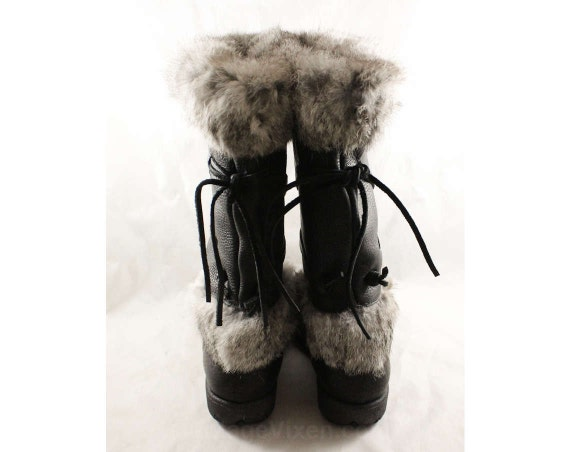 Quality Boot 90s Top Unworn Leather 1 Rabbit Winter NWT Boots 80s Rustic Black Lined with Trim Fur 47863 7 Deadstock 1980s Size gwqXTFvYWn