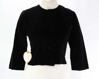Size 10 Black Jacket - 1960s Velveteen Blazer with 3/4 Sleeve Cropped Waist - Tailored 60s with Bows - Deadstock - Bust 36.5 - 45803-2