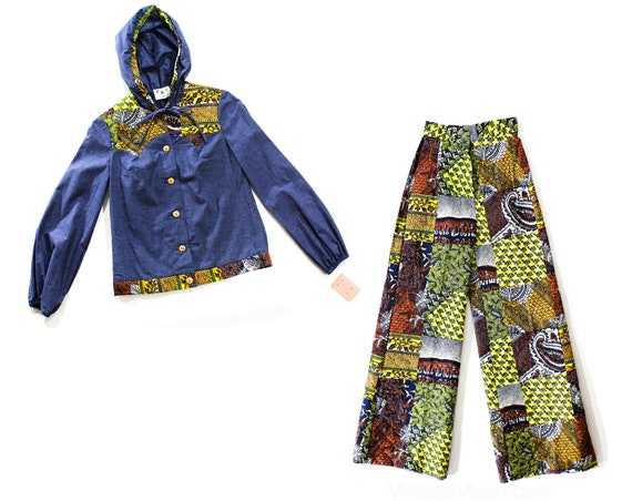 1970s Funky Pant Set with Hood - 70s Denim Chambra
