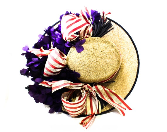 1940s Straw Picture Hat with Violet Flowers & Pin… - image 1