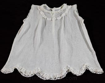 Baby Girls Antique Dress - 1920s Ecru Cotton Chemise with Scallop Hem - Sweet 20s 30s Infants Frock - Sheer Gauze - As Is - 49955