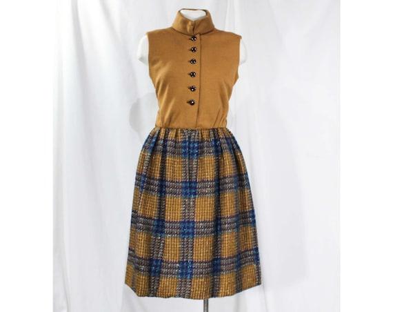 Size 4 Mod Designer Dress - 1960s Brown & Turquois