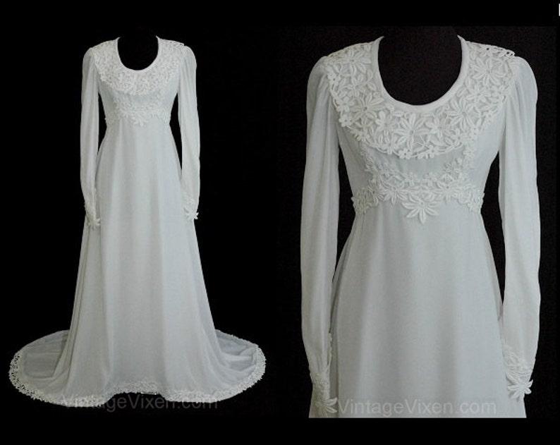 472c0e59c5ae Size 8 Wedding Dress with Train White Velvet Vintage Bridal | Etsy