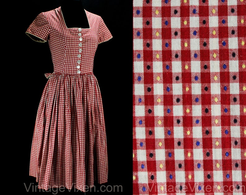 7836ae487ed XS 1950s Dress Red   White Cotton German Dirndl Adorable