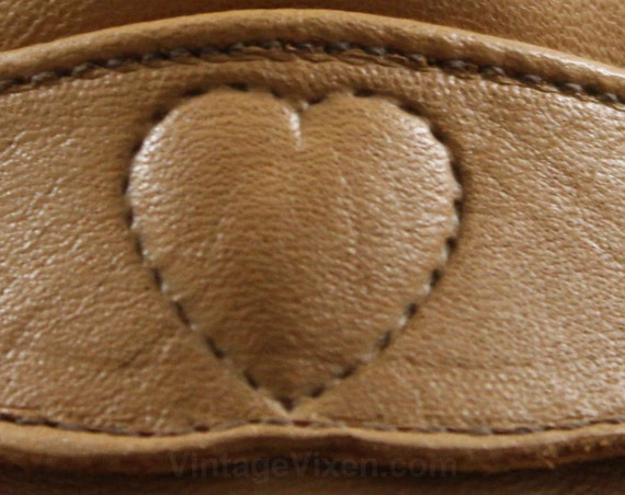 NOS Heart 8 2 Deadstock 5 Shaped Tan 1 Caramel Brown Size Light Wedge 8 1 Leather 47860 Faux 1970s Stitching Retro Shoes Loafer vORPqH5Z