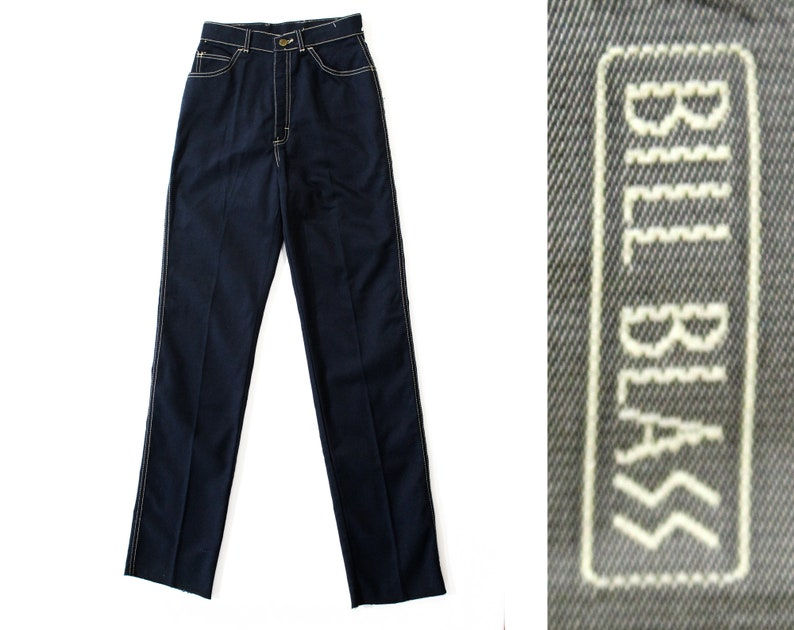Waist 24 NWT Deadstock Straight Leg Trouser Retro 80s 90s XXS 1990s Dark Blue Denim Designer Bill Blass Pants Size 0 Navy Jeans