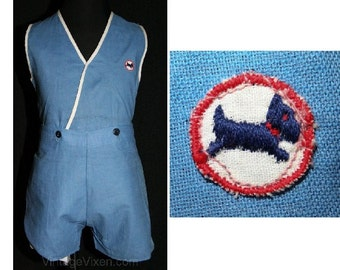 Boys Size 4 30s Play Outfit - 1930s Boy's Blue Linen Play Set with Navy Dog Logo - Boys' Childrens 4T Deadstock - Authentic - 26859-1
