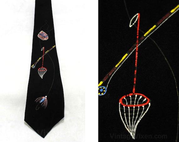 1940s Men's Tie - 40s Hand Painted Fly Fishing Nov