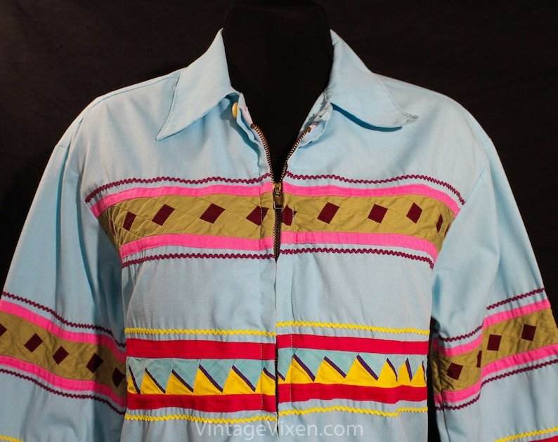 Size 12 Seminole Patchwork Jacket Sky Blue Windbreaker Arts and Crafts Bust 40 Terrific 50s 60s Turquoise Native American Tribe