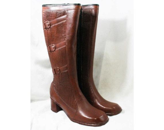 Buckles Unworn Brown 60s 43295 1960s Size Waterproof Faux Fleece Rubber Lined Boots 10 Sophisticated L'Oeil 7 Deadstock Trompe w6xpqXP4