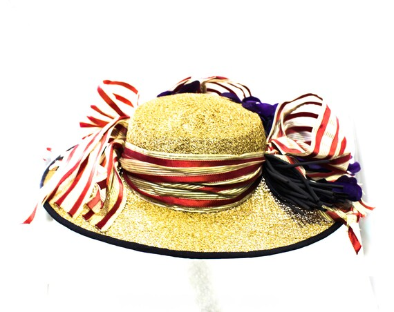 1940s Straw Picture Hat with Violet Flowers & Pin… - image 5