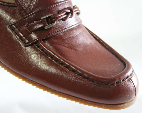Quality NOS 9 Brown Hipster Leather Loafers 70s Unworn 1960s Spice Deadstock 1 1970s 60's Nice Style Size 46974 Shoes FAxZYqYw