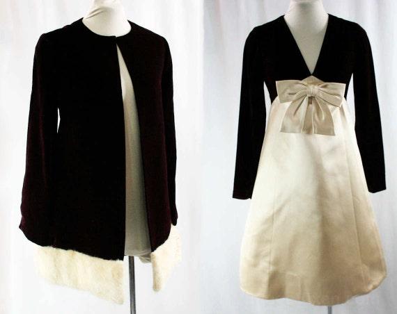 Size 4 Sarmi Dress & Fur Trimmed Jacket - Burgundy