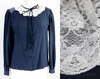 Size 10 Valentino Blouse - 1980s Gorgeous Dark Blue Silk Long Sleeved Shirt - Small Medium 80s Designer Top with Lace Ruffle - Bust 37