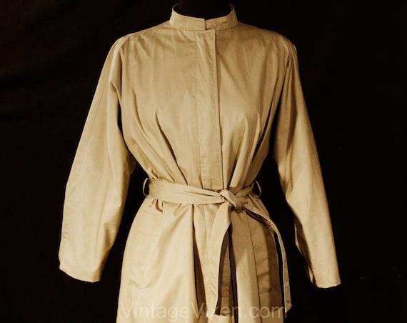 Size 12 Designer Trench Coat - 1980s Tan Cotton O… - image 2