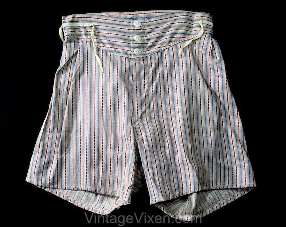 1930s Boys Boxer Shorts - Blue & Maroon Stripe Aut