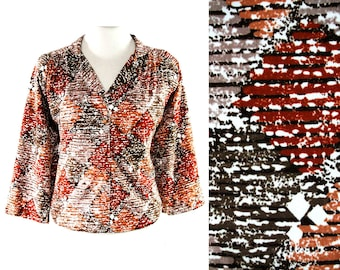 Size 18 Tawny Diamonds Print Shirt - 1970s Jersey Knit Top - Miami Label - Late 70s Early 80s Casual Blouse - Brown Russet Gray & Neutral