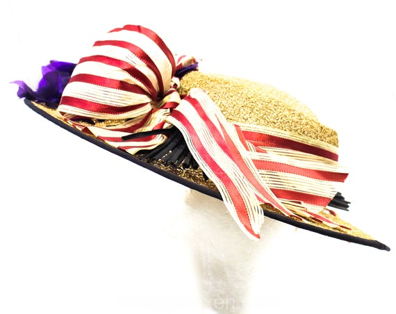 1940s Straw Picture Hat with Violet Flowers & Pin… - image 4