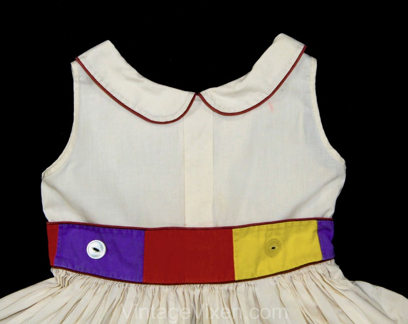 Girl/'s 2T 3T 1950s Dress Chest 23 Toddler Childs Size 2 Sleeveless 50s Frock Modern Art Color Block Cotton Brown Blue Orange Yellow