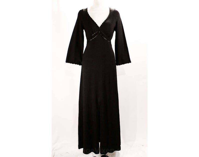 735ef63cb60d Size 10 Gypsy Dress 1970s Sexy Black Knit Hippie Maxi Dress