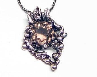 Sterling Silver & Gem Elf Queen Necklace for Women   Multi Gemstone Fantasy Necklace   Elvish Pendant Necklace w Diamonds and Smokey Quartz