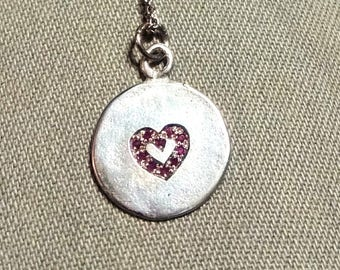 Ruby heart necklace, ruby necklace for women, ruby necklace silver, sterling silver heart necklace women, Christmas gift for her