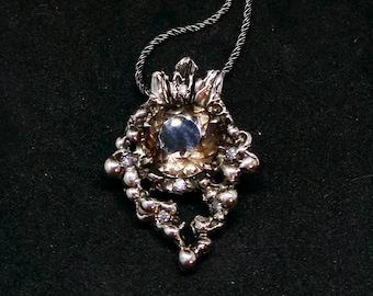 Elf Queen Necklace, Diamonds silver necklace, Smokey Quartz pendant, Smokey Quartz Necklace, Elvish Jewelry Women, Gift for her, Fantasy