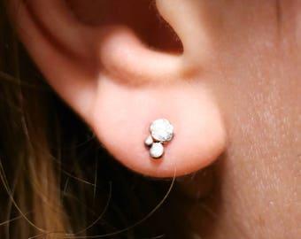 Sterling silver studs, Drop earrings, Organic silver studs, small silver earrings, Rain drop dainty studs, Dainty earrings, Women studs