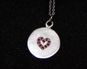 Silver Heart Necklace, Gold Heart Necklace, Pendant Necklace for Women, Initial Charm Necklace, Layer Gemstone Necklace, Gemstone Jewelry KC