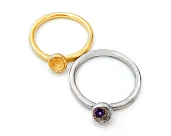 14k Gold Ring Set, Tanzanite Crystal Ring Set, Tanzanite Jewelry, Rhodium and 14k Gold Rings, Gold Stacking Rings, Organic Ring, Poppie Ring