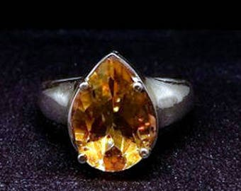 Citrine silver ring, Silver citrine ring, Yellow citrine ring, Citrine pear ring, Citrine solitaire ring, Citrine engagement ring, gift
