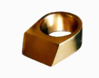 Geometric ring gold, contemporary rings for women, Big rings for men, Statement ring, Golden ring, Modern rings gold, Christmas Gift for her