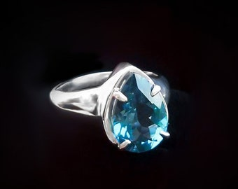 Amazing Sterling Silver and Big Pear Shaped London Blue Topaz Gemstone Ring for Women   Affordable Solitaire Engagement Ring