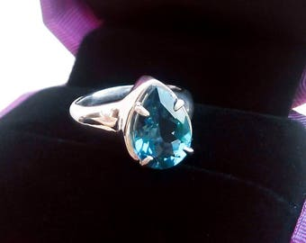 Blue topaz ring silver,  London blue topaz ring, Topaz thick rings for woman, Blue topaz solitaire ring, Blue topaz Engagement ring gift