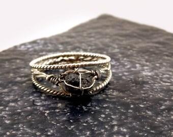 Raw diamond engagement ring, Raw diamond ring, Silver engagement ring, Anniversary gift, Ring for women, Alternative engagement ring